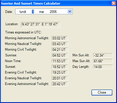 Sunrise and Sunset Times Calculator